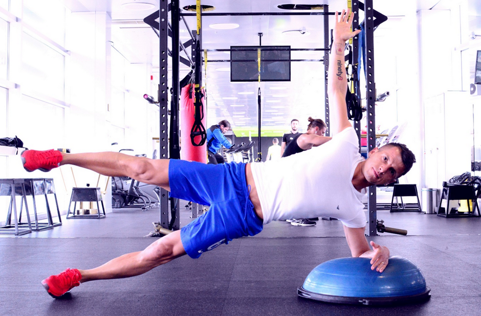 Lateral elbow plank (unstable upper, arm and leg abduction, feet elevated)